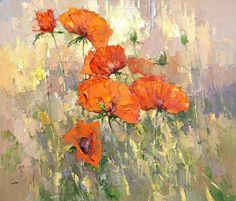 Orange Poppies by? Acrylic Painting Flowers, Abstract Flowers, Watercolor Flowers, Art Pictures, Flower Art, Poppies, Art Drawings, Art Photography, Fine Art
