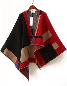 Capa de lana asimétrica manga larga-negro y rojo 33.99€ Sheinside