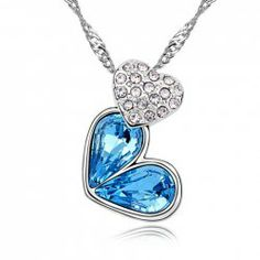 $4.77 Sparking Rhinestoned Heart Decorated Pendant Necklace For Women