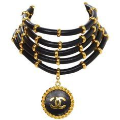 Preowned Chanel Rare Collectors Vintage '89 Gold & Leather Choker... ($2,500) ❤ liked on Polyvore featuring jewelry, necklaces, accessories, multiple, gold necklace, vintage gold pendant, leather necklace, gold choker necklace and gold pendant necklace