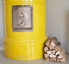Yellow or my future home. Retro Home, Decor, Wood Storage, Retro, Home Decor, House Interior, Wood Burning Stove, Fireplace, Bird House