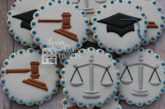 Graduation from law school cookies at www.LovinOvenCookies.etsy.com Graduation Desserts, Graduation Cookies, Graduation Celebration, Graduation Party Decor, College Graduation, Royal Icing Cookies, Sugar Cookies, Lovin Oven, School Cake