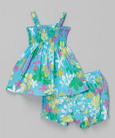 Look at this #zulilyfind! Blue Shirred Floral Dress & Bloomers - Infant & Toddler #zulilyfinds