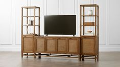 """Blake Grey Wash 68"""" Media Console with 2 Tall Cabinets 
