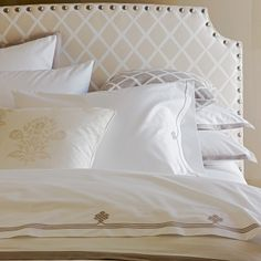 Discover luxury duvet covers and shams from Serena & Lily and find the perfect bedding for your master and guest bedrooms. Dream Bedroom, Home Bedroom, Master Bedroom, Bedroom Decor, Bedroom Headboards, Headboard Ideas, Dog Bed Frame, Luxury Duvet Covers, Luxury Bedding