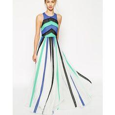 ASOS Plain Colour Block Mesh Panel Maxi Dress