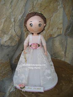 Diy Crafts For Gifts, Fondant Figures, First Communion, Elsa, Polymer Clay, Baby Shower, Disney Princess, Ideas, Diaper Bag Cake