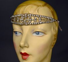 AUTHENTIC FLAPPER COCKTAIL ACCESSORY ESSENTIAL - 1920's VINTAGE RHINESTONE METAL OPENWORK HEADACHE BAND / HEADPIECE - AVAILABLE FOR SALE AT RPVINTAGE.COM