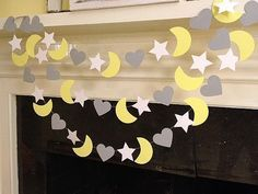 I Love You To The Moon and Back yellow and grey by ClassicBanners I Love You To The Moon and Back yellow and grey Moon Star Heart Garland/ Nursery Decoration/ Baby Shower Decoration/ Custom Color 10ft available in your choice of colors Perfect childs room decoration to string across the ceiling :)