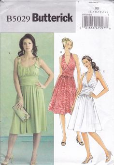 FREE US SHIP Butterick 5029 Sewing Pattern  Summer Halter Ruched Bodice Midriff Dress  Size 8 10 12 14 Bust 31.5 32.5 34 36 Factory Folded by LanetzLiving on Etsy