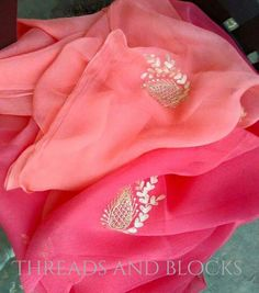 Pure Chiffon Saree with Blouse Piece by Threadsandblocks on Etsy                                                                                                                                                                                 Plus