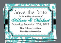 Save the Date Bridal Shower Birthday Invitation by ThatPartyChick, $15.00 turquoise and black