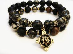 "BoyBeads-Handmade Natural Stone Bead Bracelets | Custom- ""Guide Me"" Compass 5 Bead stretch bracelets mens special order"