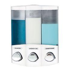 Croydex Trio Wall Mounted Triple Soap Shampoo Gel Dispenser Shower Kitchen Bath