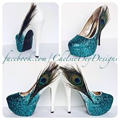 Teal Peacock Ombre Glitter High Heels - pinned by pin4etsy.com