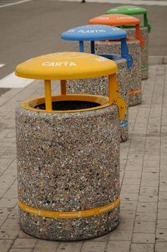 #recycling and #sustainability by #Bellitalia street furnitrure.  ATLANTE litterbin