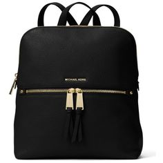 Michael Michael Kors Black Rhea Medium Slim Leather Backpack ($258) ❤ liked on Polyvore featuring bags, backpacks, black, michael michael kors, backpack bags, real leather backpack, genuine leather bags and leather laptop backpack