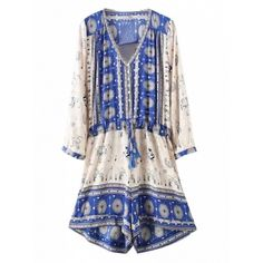 Choies Color Block Tribe Pattern Roll-up Sleeve Tie Waist Romper... (1,075 MKD) ❤ liked on Polyvore featuring jumpsuits, rompers, multi, print romper, white romper, tribal romper, long-sleeve rompers and playsuit romper