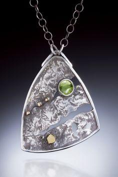 Reticulated sterling silver, 14K gold, peridot pendant. MJ Sandman Jewelry