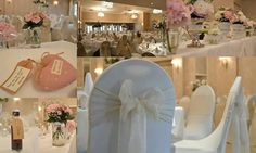 Collage of photos of a #wedding we dressed taken at Rowton Hall Hotel in #chester.  Flowera by Cocoa Florist in Chester