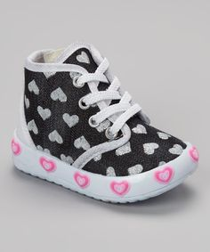 This Little Berry White & Black Hearts Hi-Top Sneaker by Little Berry is perfect! #zulilyfinds