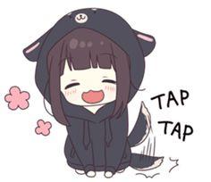 It is a cute sticker of kurumi-chan. Chica Gato Neko Anime, Lolis Neko, Anime Girl Neko, Cute Anime Chibi, Chibi Girl, Chica Anime Manga, Anime Girl Cute, Anime Art Girl, Anime Love