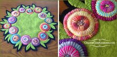 WOOL APPLIQUE - a table mat embellished with hand dyed perle cotton from http://etsy.com/shop/colourcomplements. A lovely example of wool applique.