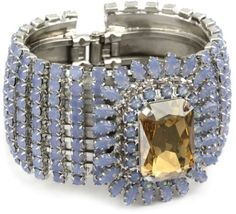 "Rodrigo Otazu ""DNA"" Blue 0pal and Golden Tan Flower Hinged Cuff Bracelet"