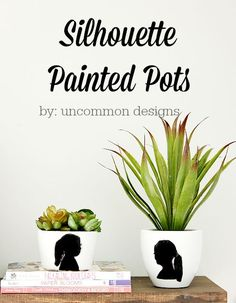 Create a home decor item and a lasting memory with these DIY Silhouette Painted Pots! So precious! You have got to see how easy this is and such a great gift idea!