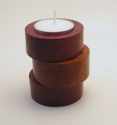 Exotic Wood Candle Holder Tealight Holder in Purpleheart and Jatoba wood - standard tealight inlcuded. Created by RCOriginalsGallery, $21.99