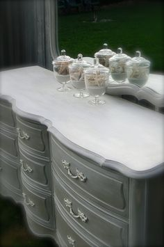 french linen and pure white combo with clear and pure white wax mixture over top