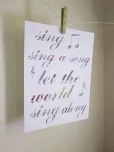 Sing Sing A Song Let The World Sing Along 81/2 by thecharmingplace, $15.00