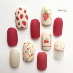 Make an original manicure for Valentine's Day - My Nails Fruit Nail Designs, Red Nail Designs, Cute Nails, Pretty Nails, Fruit Nail Art, Japanese Nail Art, Japanese Design, Easter Nail Art, Kawaii Nails