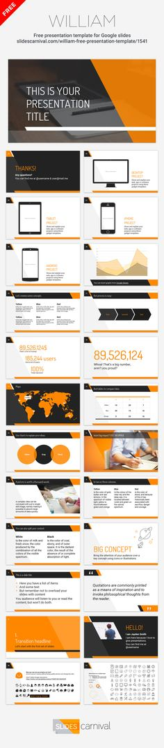 Modern and professional, this free presentation template will fit almost any topic. In this design the orange color and diagonal lines give a very dynamic look. You can keep the orange palette, or choose a single bright color that matches your brand. Use it for business or corporate decks and impress your audience with both your message and visuals.
