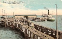 Shipping Cotton off Central Wharf, Corpus Christi, Texas. :: Texas - Photographs, Manuscripts, and Imprints Music Garden, Corpus Christi Texas, Southern Methodist University, City By The Sea, South Texas, Texas History, Texas Homes, Vintage Postcards, Paris Skyline