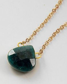 Handmade Malachite Teardrop Necklace on Emma Stine - I also REALLY NEED this color.