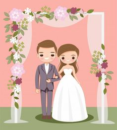wedding invitations illustration Cute bride and groom cartoon on wedding . Bride And Groom Cartoon, Wedding Couple Cartoon, Cute Couple Cartoon, Cute Couple Art, Wedding Invitation Card Template, Modern Wedding Invitations, Floral Invitation, Wedding Stationery, Party Invitations