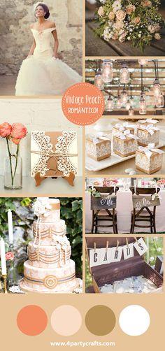 Vintage and Peach wedding / Boda vintage con durazno Invitación de 4partycrafts.com
