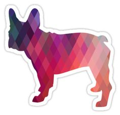 French Bulldog Colorful Geometric Pattern Silhouette Sticker