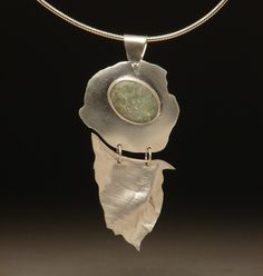 Sterling Silver and Agate Stone PendantGRACEFUL by mythicsilver, $195.00