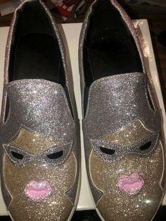 Pink Silver Glitter Shoes 43 10 10.5 Wimens  #heels (ebay link) Silver Glitter Shoes, Slip On, Heels, Sneakers, Pink, Ebay, Fashion, Tennis Sneakers, Sneaker