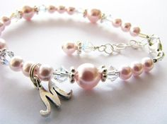 Baby gift, Baby bracelet with an initial...flower girl baby newborn  toddler girl personalized light pink pearl and crystal bracelet on Etsy, $36.00