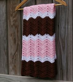 Baby Blanket in Pink, Brown, White Baby Afghan Hand Crocheted via Etsy