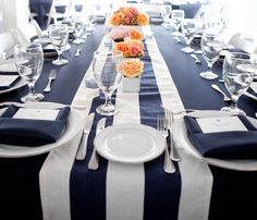Striped, Navy Blue and White, Nautical, Table runners, Beach, Wedding, 4th of July party, Baby Shower by Jessmy on Etsy https://www.etsy.com/listing/151937401/striped-navy-blue-and-white-nautical