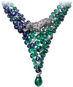 High Jewelry Panthère de Cartier necklace Platinum, emeralds, sapphires, onyx, diamonds