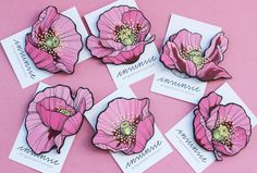 Poppy painted brooches by Insunsit