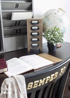 Industrial Office Supply Organizer From an Old Jewelry Box | Bless'er House Office Organization At Work, Office Ideas, Cubicle Makeover, Industrial Office, Rustic Office, Industrial Style, Industrial Design, Vintage Office, Home Office Design