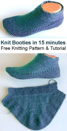 Knit Booties in 15 minutes - Tutorial Free Knitting Pattern & T. Knit Booties in 15 minutes - Tutorial Free Knitting Pattern & Tutorial History of Knitting Wool rotatin. Easy Knitting, Knitting For Beginners, Knitting Stitches, Knitting Socks, Knitting Patterns Free, Knit Patterns, Start Knitting, Knitted Booties, Knitted Slippers