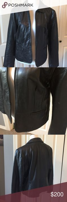 Black leather Ann Taylor jacket Fully lined. Zipper front. Side slit pockets. 100% genuine leather show 100% polyester lining Ann Taylor Jackets & Coats