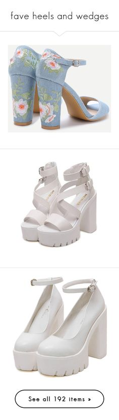 """""""fave heels and wedges"""" by thisisnoromance ❤ liked on Polyvore featuring shoes, sandals, heels, blue color shoes, blue shoes, thick heel shoes, wide heel sandals, chunky heel sandals, white heeled sandals and zip shoes"""